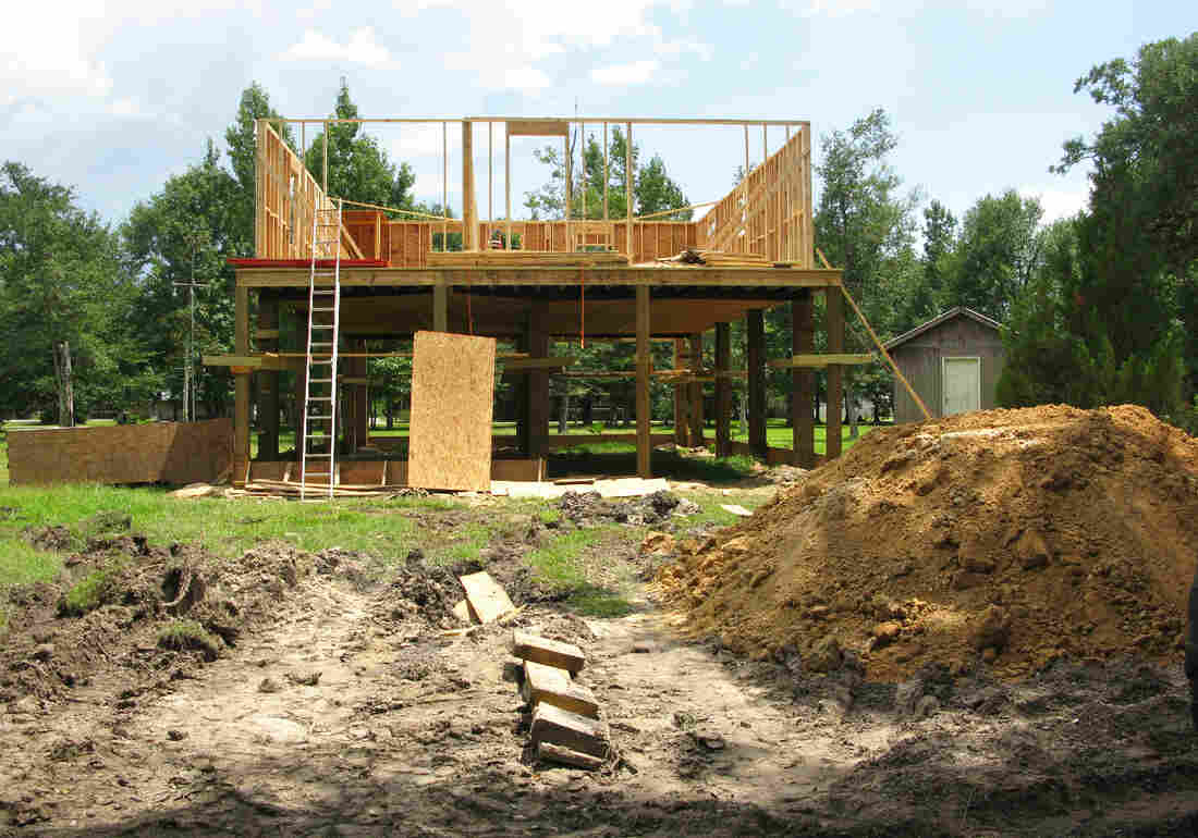 Bill Griffin and his wife, Gail, are building a new, elevated house in Pearlington, adhering to the new FEMA flood plain elevation standards.