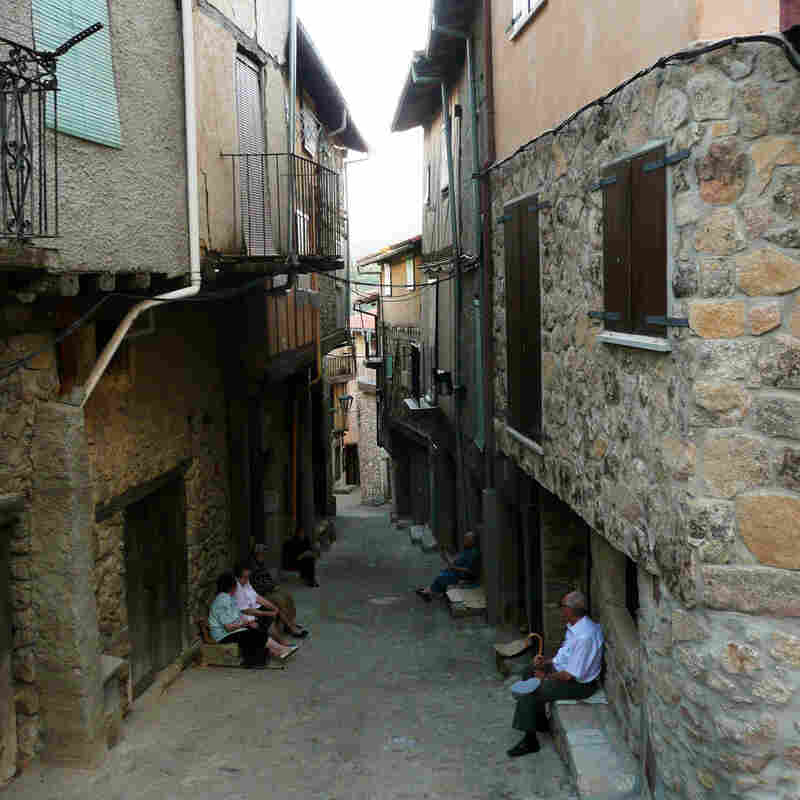 Elderly residents gather in a dying village in the Sierra Francia region, northwest of Madrid.