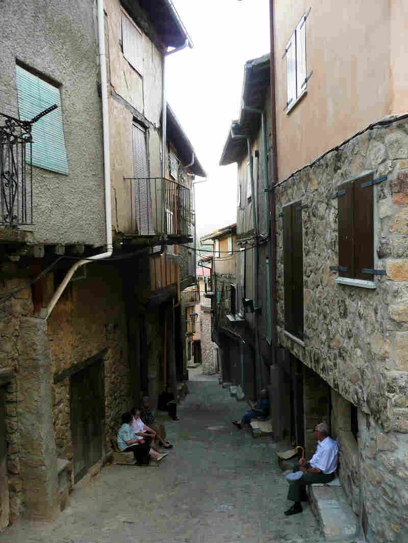 Elderly residents gather in a dying village in the Sierra Francia region, northwest of Madrid.