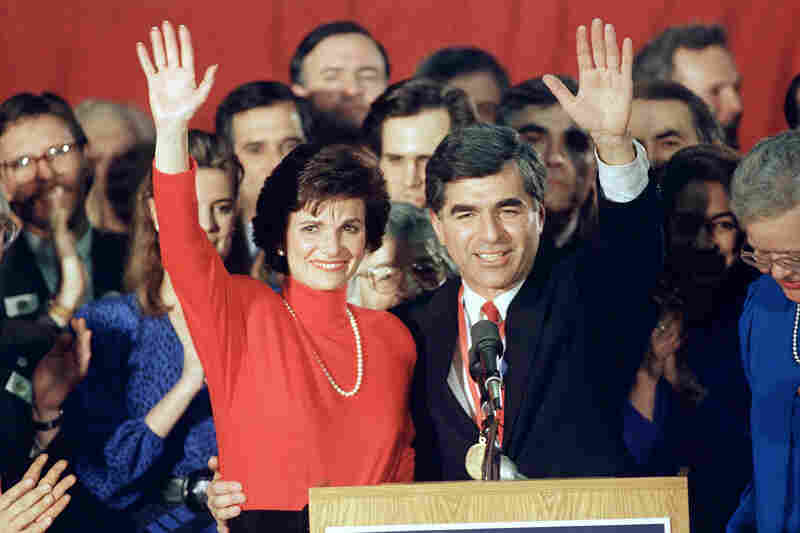 Mass. Gov. Michael Dukakis and his wife, Kitty, wave to supporters, Tuesday, Feb. 16, 1988 in Manchester after he won the Democratic primary in New Hampshire.