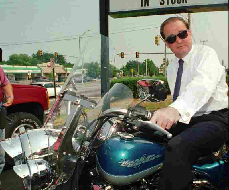 Republican presidential hopeful Pat Buchanan throttles up a Harley-Davidson Road King motorcycle in Manchester, N.H., July 5, 1995, while seeking the GOP presidential nomination.