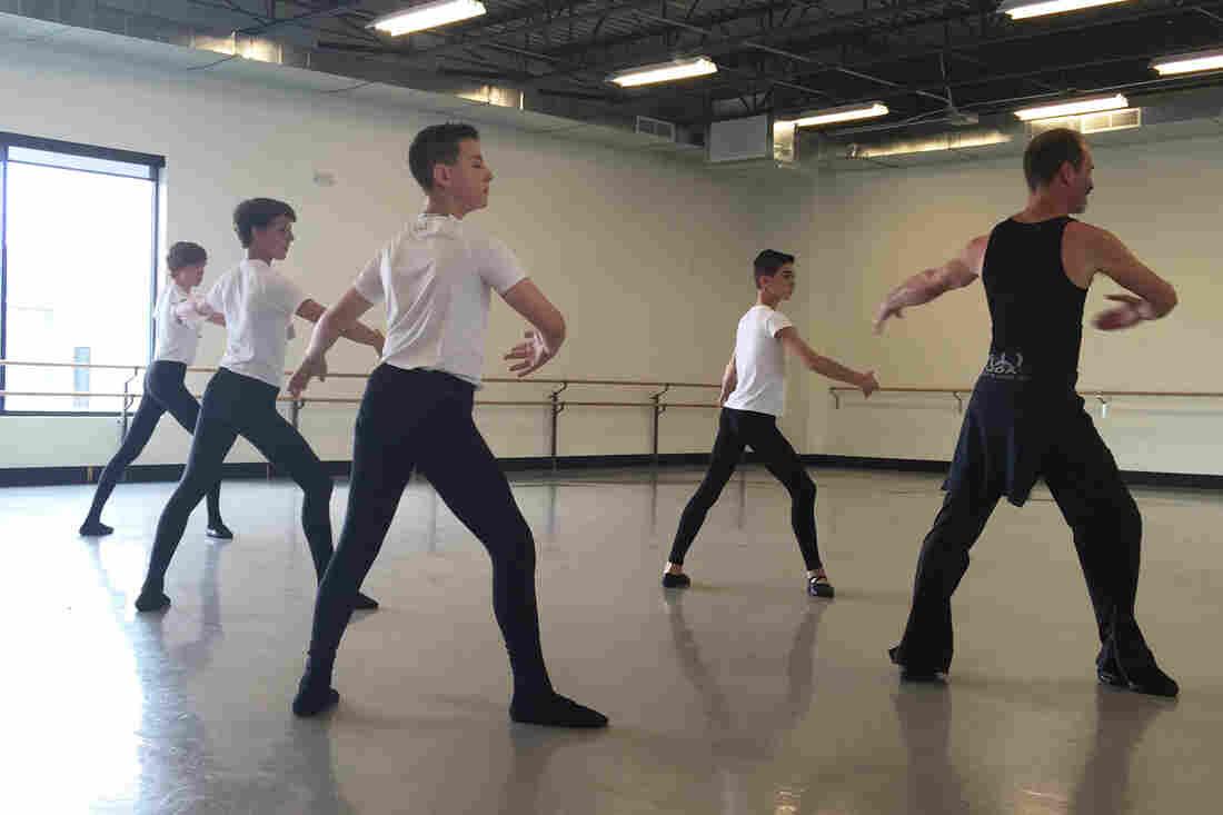 Ballet master John Gardner (right) leads an all-boys class at the Colorado Ballet in Denver.