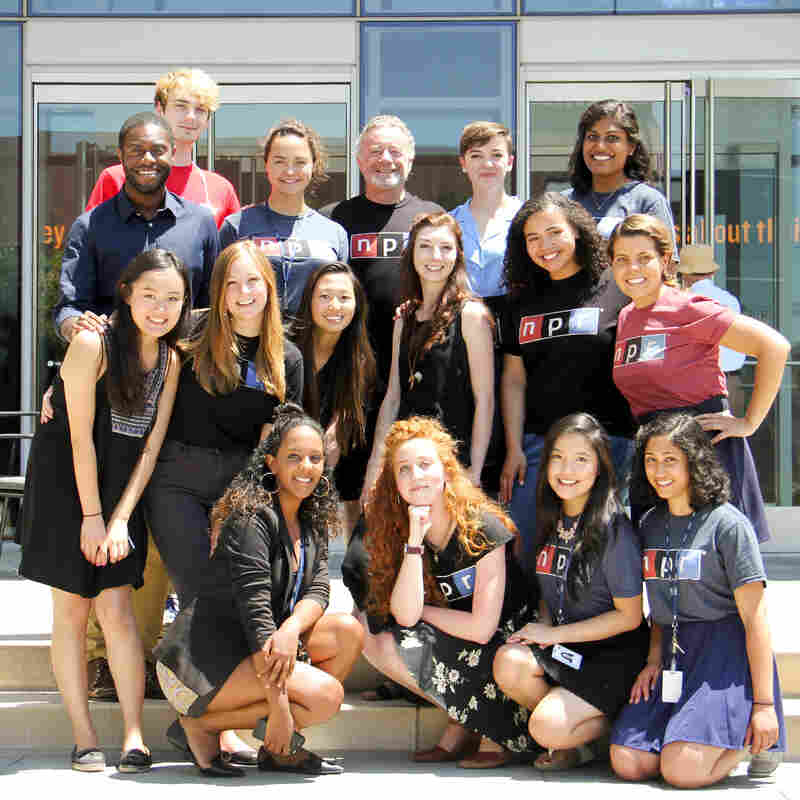NPR's interns chilling with CEO Jarl Mohn on a hot day.