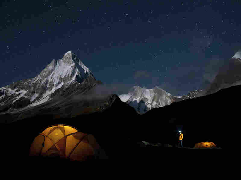 Climbers settle in for the night on Meru Peak.