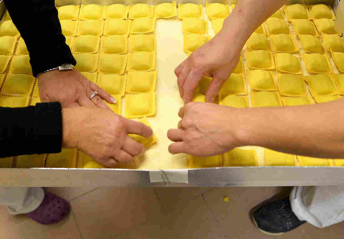 """Gluten is everywhere you look in Italy. Here, fresh ravioli at the historic shop """"Gatti & Antonelli"""" in Rome in 2014."""