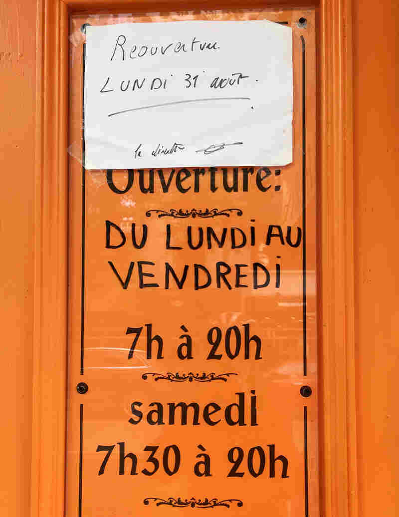 A paper sign taped to the door says that the establishment will reopen on Aug. 31.