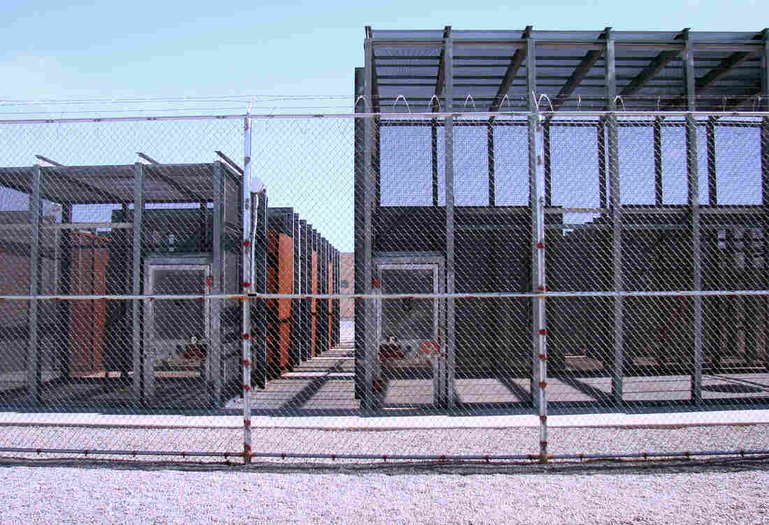 Inmates in solitary confinement in the New Mexico state penitentiary are allowed one hour a day outside, in these individual cages. Each inmate has to strip all the way down in a cage inside before and after his hour of recreation.