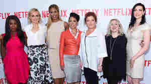 Uzo Aduba (from left), Taylor Schilling, Laverne Cox, Selenis Leyva, Kate Mulgrew, casting director Jennifer Euston and Laura Prepon attend a Orange Is The New Black screening on Aug. 11, in New York City.