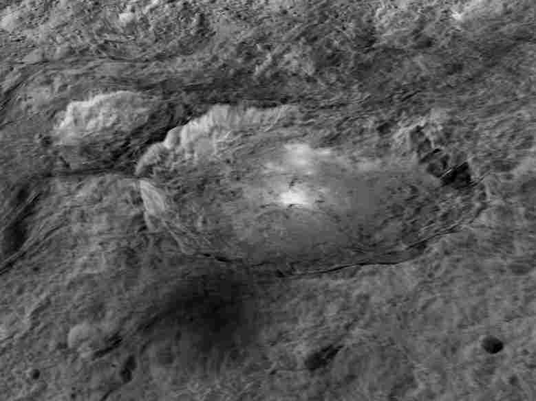 The bright spots on Ceres that lie in a crater named Occator.