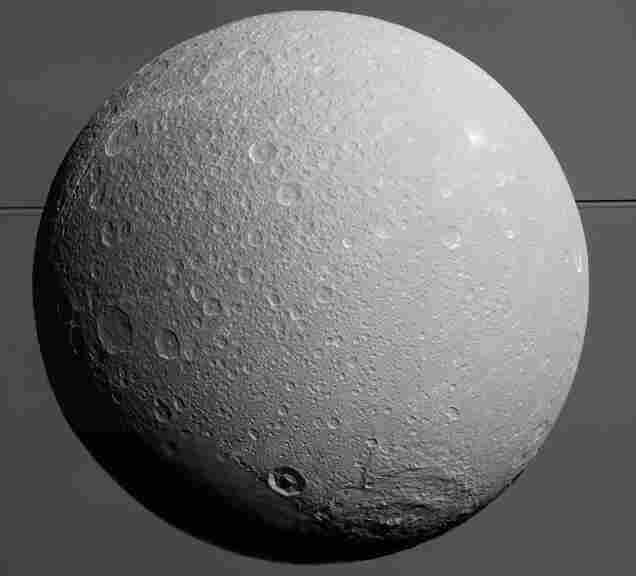 A view from NASA's Cassini spacecraft as it looks toward Saturn's moon Dione.