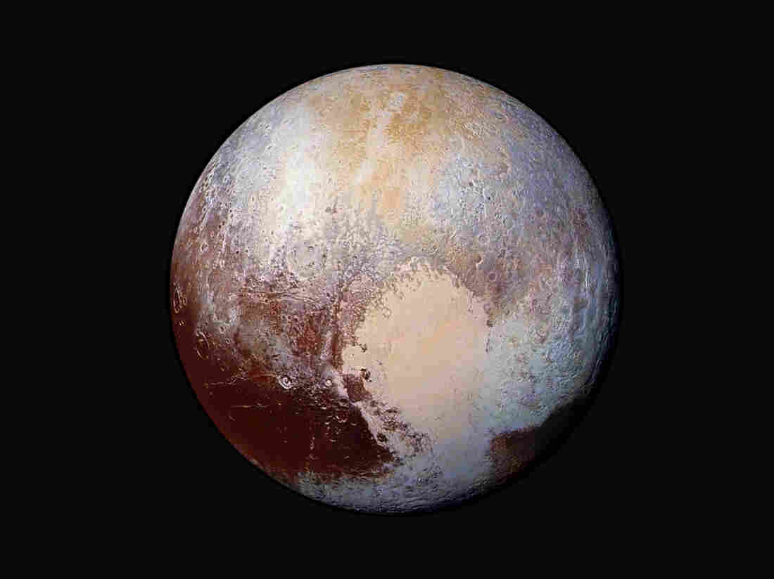 A composite image of Pluto as seen from New Horizons.