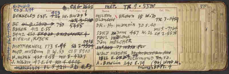 Ad Reinhardt's address book, circa 1950-1965