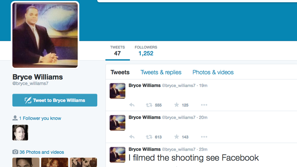 A screen grab shows the Twitter page of Bryce Williams, whose real name is Vester Lee Flanagan II, who police say fatally shot WDBJ-TV cameraman Adam Ward and reporter Alison Parker during a live broadcast early Wednesday. After the attack, Flanagan reportedly sent a fax to ABC News. (AP)