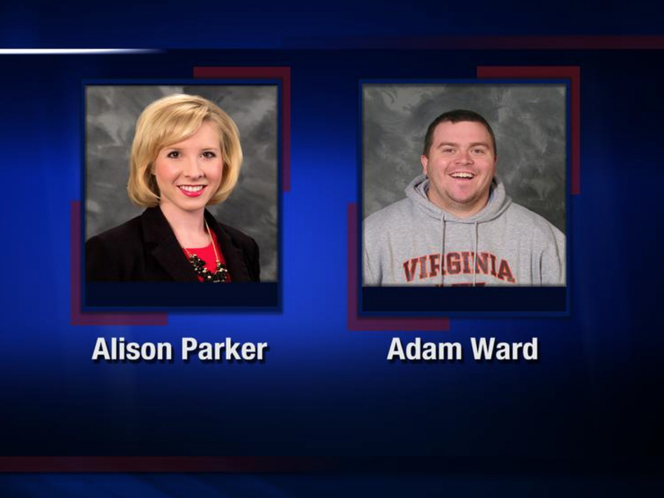 Reporter Alison Parker and photojournalist Adam Ward were killed by a gunman Wednesday morning while broadcasting live in Moneta, Va. WDBJ7 paid tribute to the two journalists by sharing this image on Twitter. (WDBJ7 via Twitter)