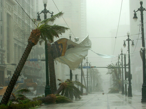 Palm trees bend and banners rip on Canal Street as Hurricane Katrina blows through New Orleans on Aug. 29, 2005 — 10 years ago Saturday.