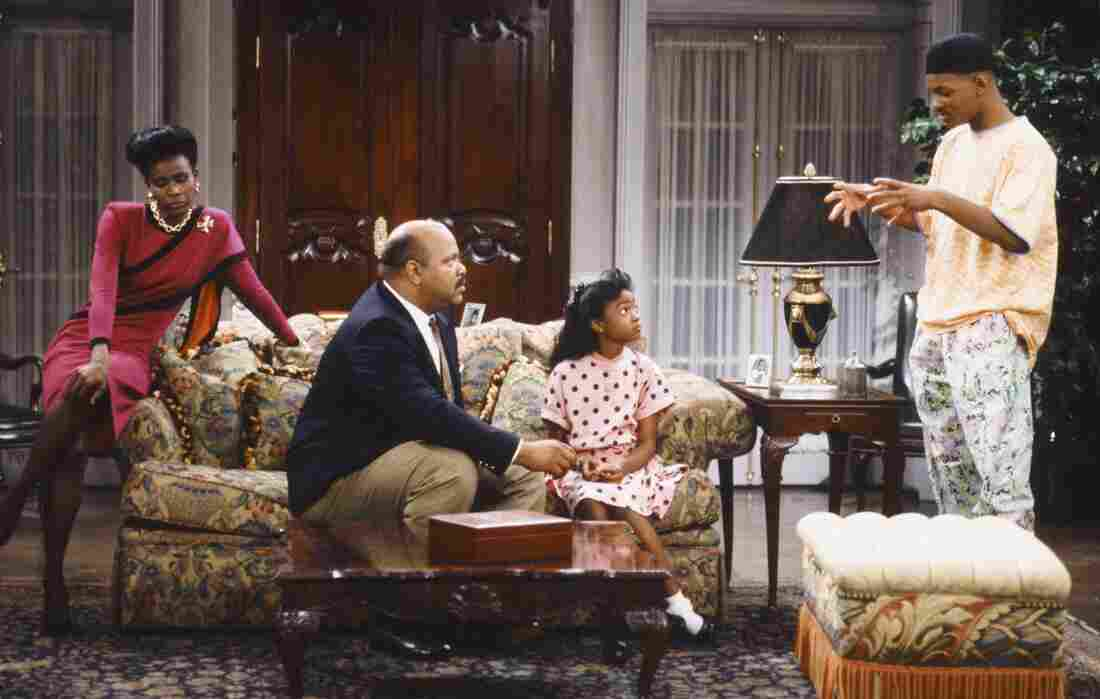 Janet Hubert (left), James Avery, Tatyana Ali and Will Smith in the first season of Fresh Prince of Bel Air.