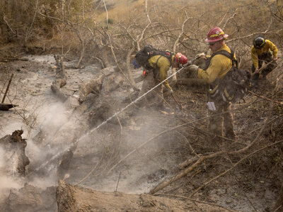 Firefighters extinguish hot spots after a wildfire, part of the Okanogan Complex, swept through the area on Saturday near Okanogan, Wash.