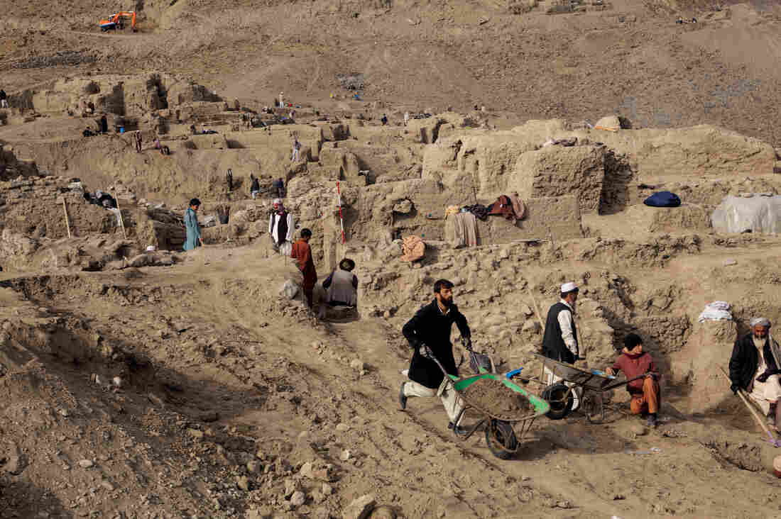 Villagers have been hired to help archaeologists with the excavation.