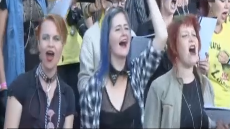 A punk choir performs at the Punk Song Festival in Estonia.
