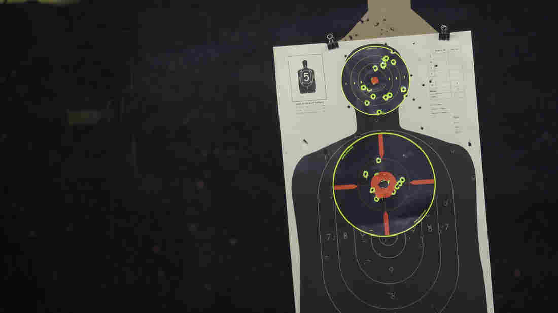 """Shown a realistic human target — not just a silhouette like this one — shooters were more likely to pull the trigger if the target was black, according to an analysis of 42 studies. """"Even if you think that you're not prejudiced,"""" says researcher Yara Mekawi, """"that doesn't necessarily mean that that's true in terms of split-second decisions that you might make in the real world."""""""