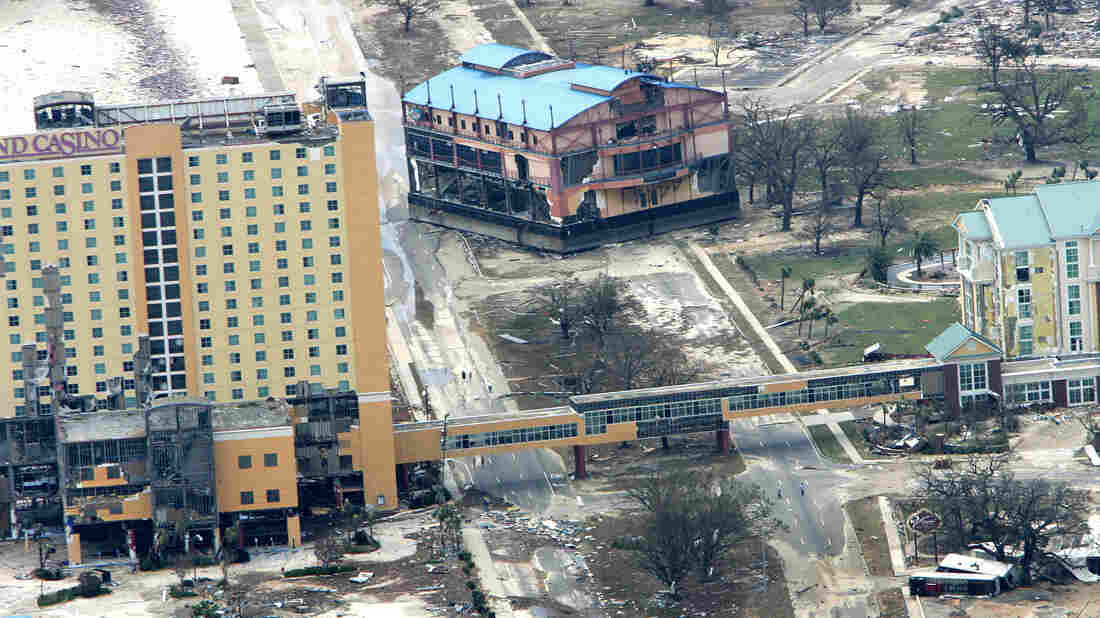 The Kids Quest building sits in the middle of Route 90 next to the Grand Casino in Gulfport, Miss., on the day after the storm. Both buildings were wrecked from the high winds and waves of Hurricane Katrina.
