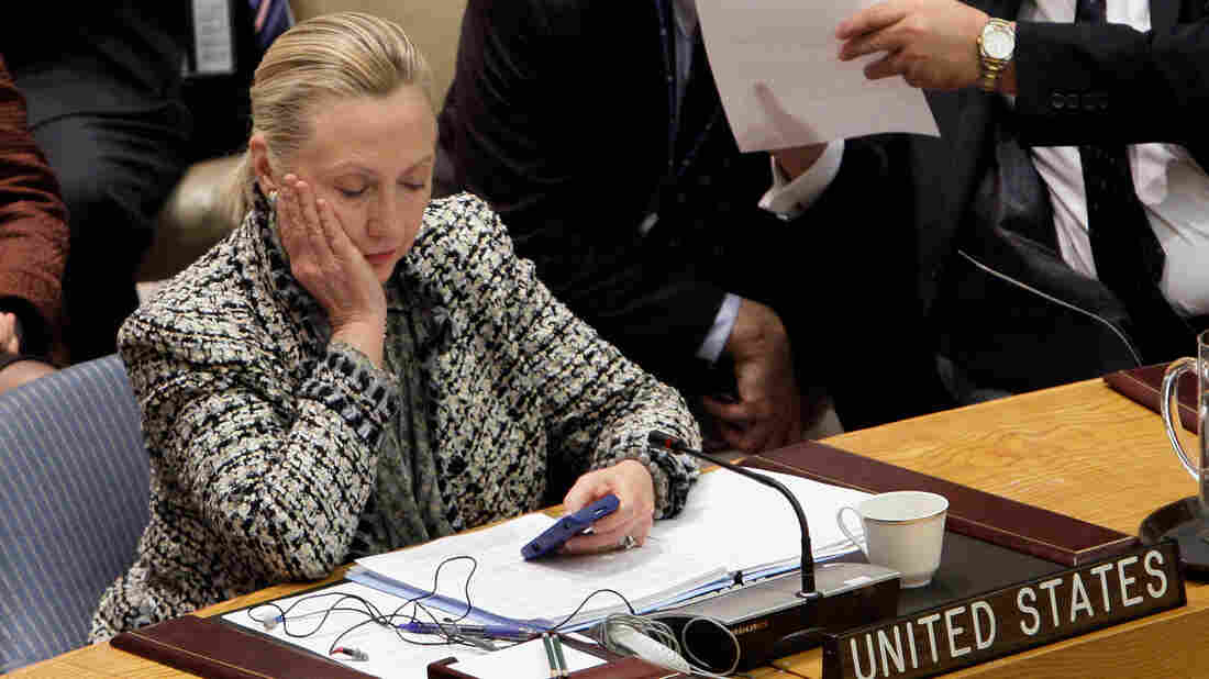 Hillary Clinton perusing her mobile phone as secretary of state after an address to the Security Council at United Nations in 2012.
