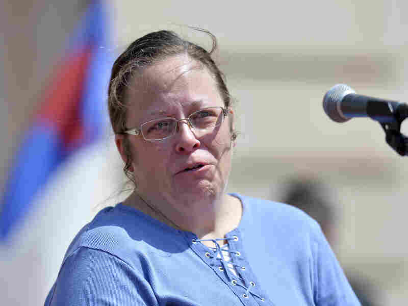 Rowan County Clerk Kim Davis speaks to supporters on the steps of the Kentucky State Capitol in Frankfort last month.