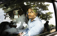 Hardik Patel, 22-year-old firebrand leader of Patidar Andolan Samiti leaves after addressing a press conference in New Delhi, India, Sunday, Aug. 30, 2015. Patel is leading an agitation for members of Gujarat state Patel community demanding government benefits for them under the Other Backward Class (OBC) quota.