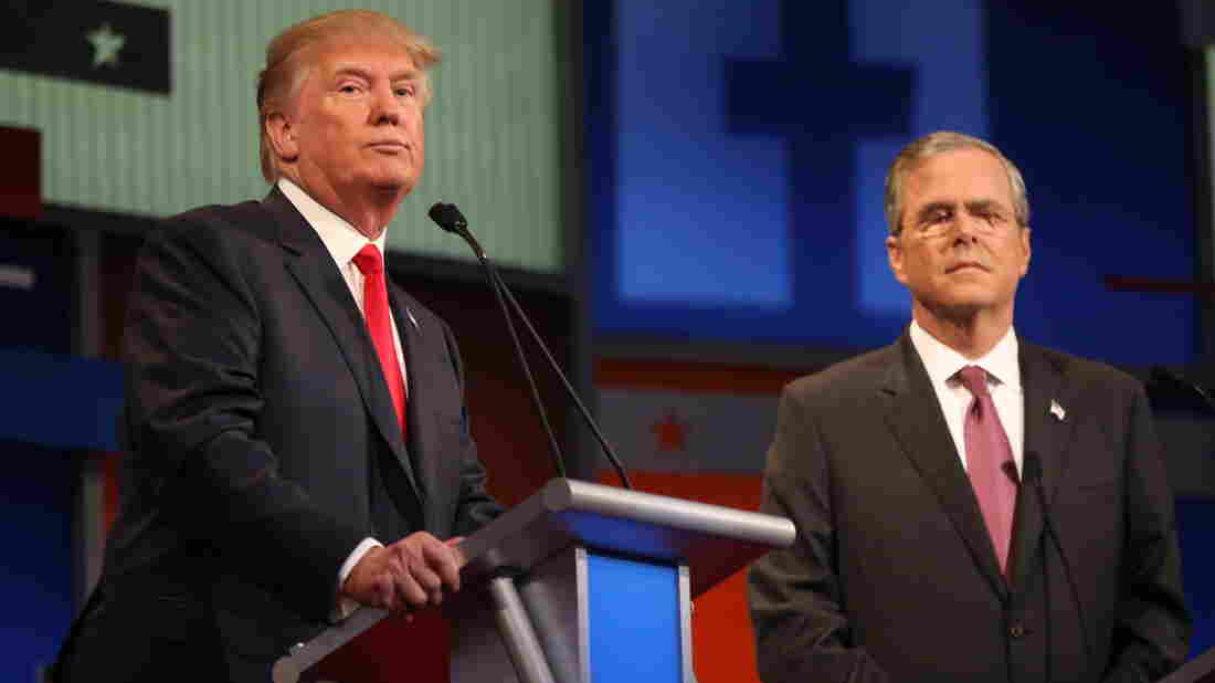 Donald Trump (left) and Jeb Bush onstage at the first Republican presidential debate in August.