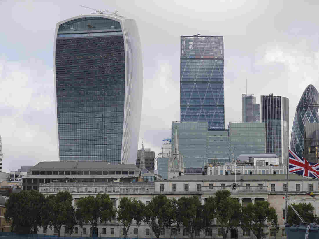 """London's """"Walkie-Talkie"""" building (left) took this year's prize for the U.K.'s worst building."""