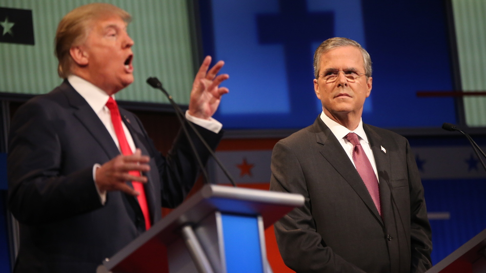Donald Trump and Jeb Bush were polite to each other at the first GOP debate. But it's been gloves off since then, especially on Instagram, a social media outlet not known for its vitriol. (Andrew Harnik/AP)