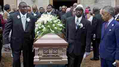The casket of Ethel Lance is carried to a hearse following her funeral service on June 25. Lance was one of nine people killed in the shooting at Emanuel AME Church in Charleston.