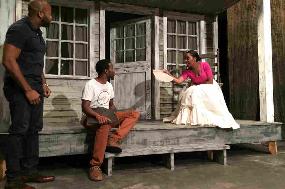 Shane Taylor (from left), W. Tré Davis and Michelle Wilson rehearse a scene in The People Before the Park. Their characters discuss pressuring the New York City government to pay them more money for moving from their homes in Seneca Village.