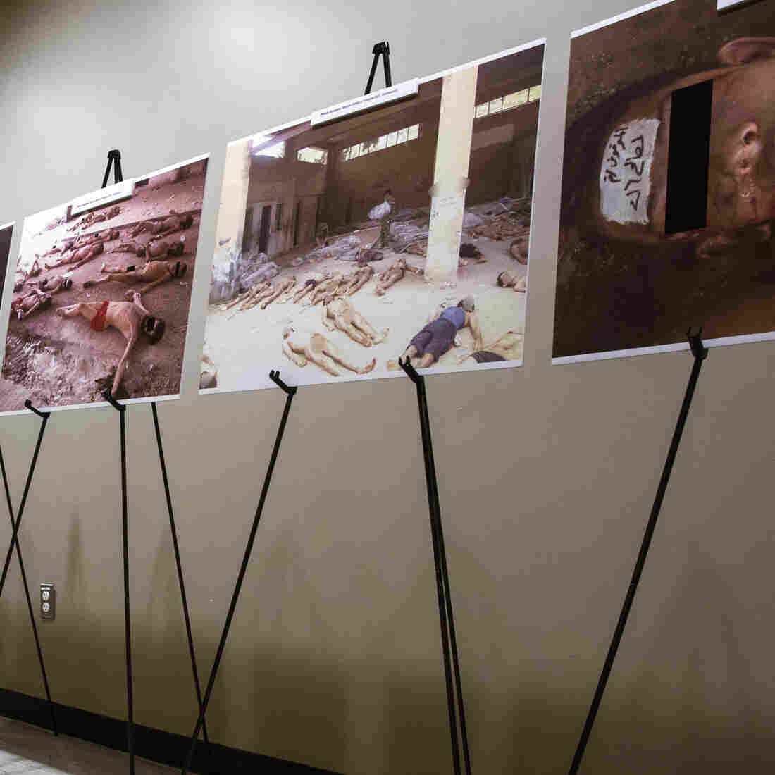 Images of dead bodies in Syrian prisons, taken by a Syrian forensic photographer, were displayed at the United Nations earlier this year. They were also put on exhibit at the U.S. Capitol in July.