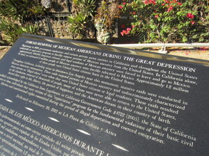 A memorial in downtown Los Angeles commemorates the mass expulsion of Mexican-Americans during the Great Depression.