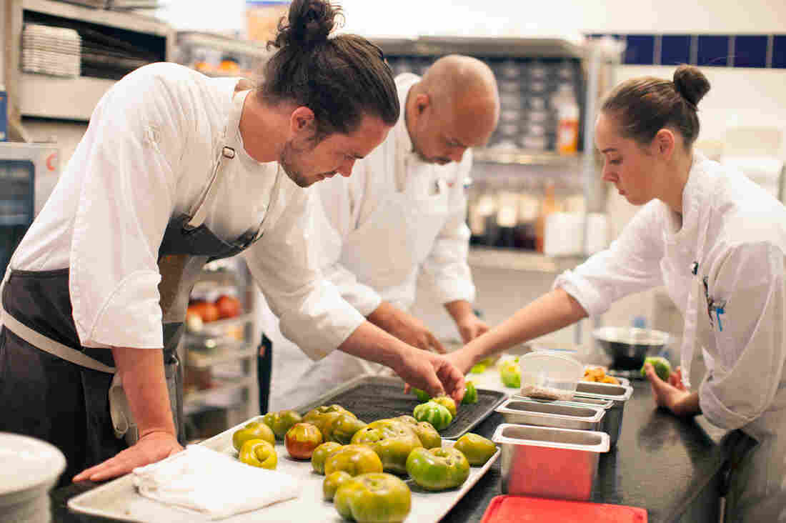 Chef Jamie Simpson and his team in the Culinary Vegetable Institute kitchen.
