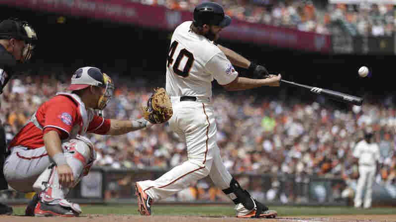 San Francisco Giants pitcher Madison Bumgarner hits a home run against the Washington Nationals.
