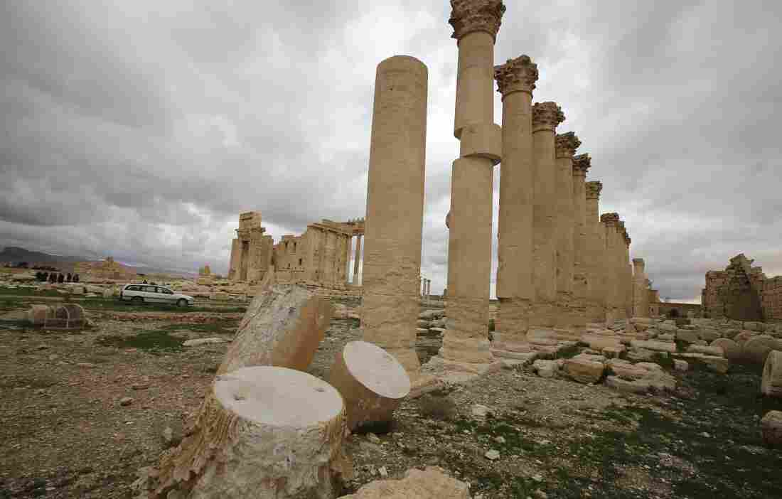 The Temple of Bel in Palmyra had already sustained some damage from artillery shells in March 2014, when these columns in the temple courtyard were photographed. The ancient temple stood at a cultural crossroads, showing influences from Greco-Roman and Persian traditions, and was one of Syria's most famous archaeological sites. It was destroyed late in August of 2015.
