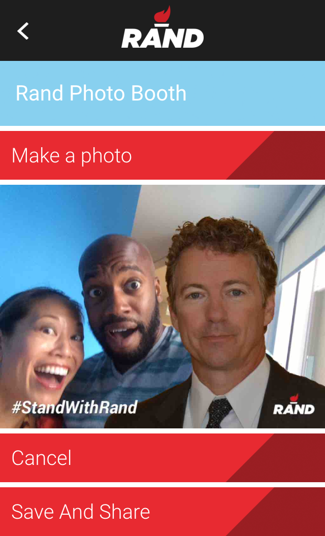 NPR's Sam Sanders and Ailsa Chang took a selfie with Rand Paul through his app.