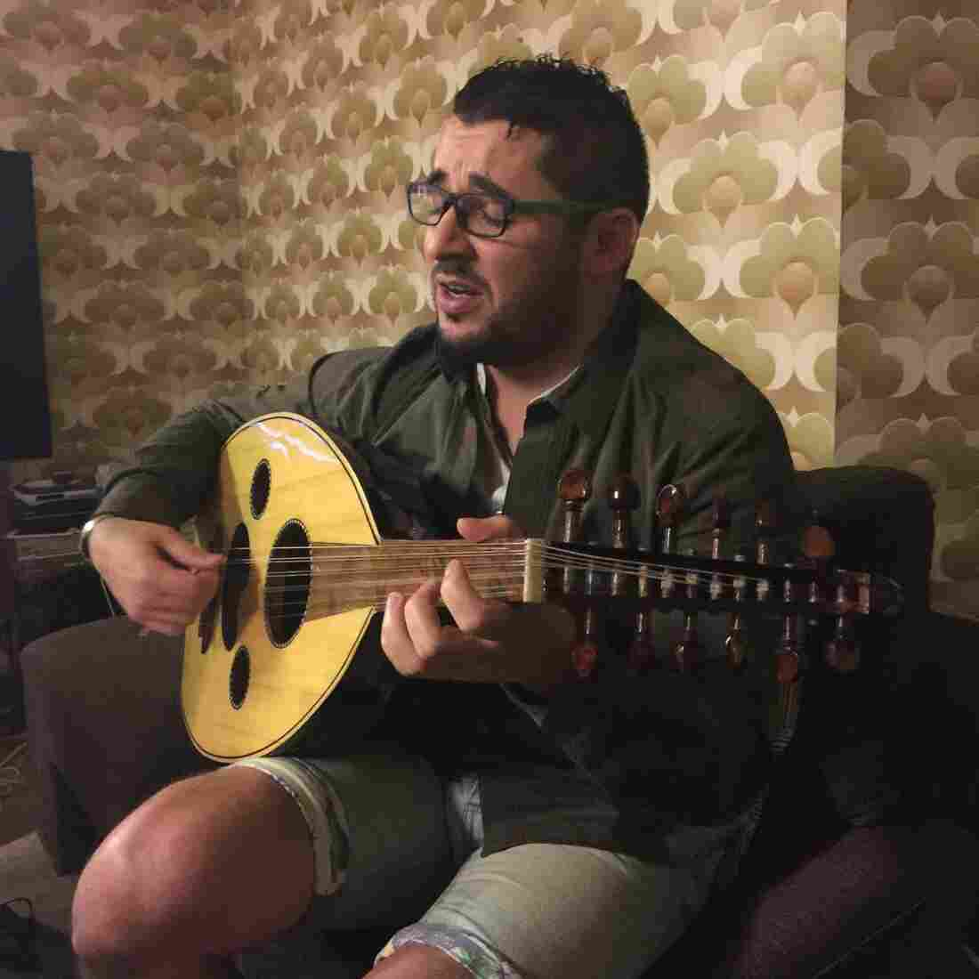 Mohamed Hashem, one of Saudi Arabia's best known musicians, plays the oud, a Middle Eastern lute.