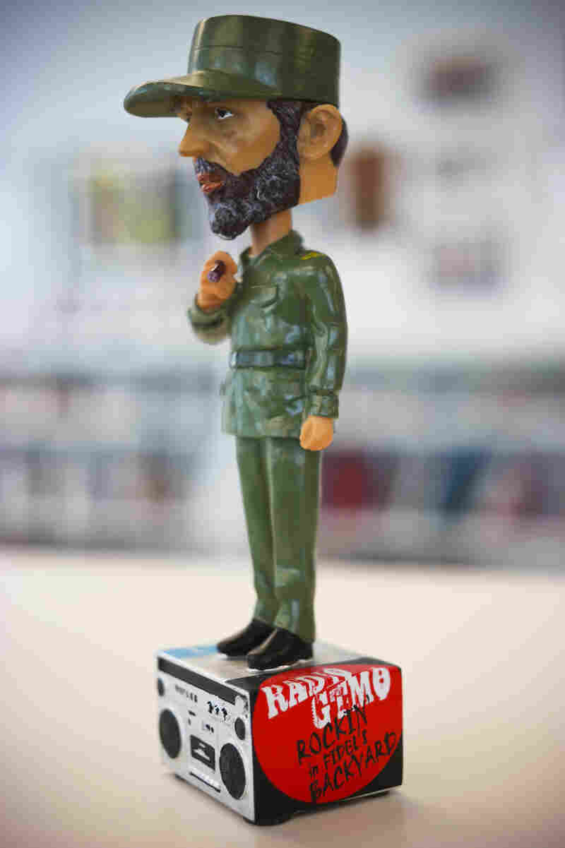 "Bobble head souvenir sold at Radio GTMO depicts Cuban leader Fidel Castro above the station's slogan: ""Rockin' in Fidel's Backyard"""