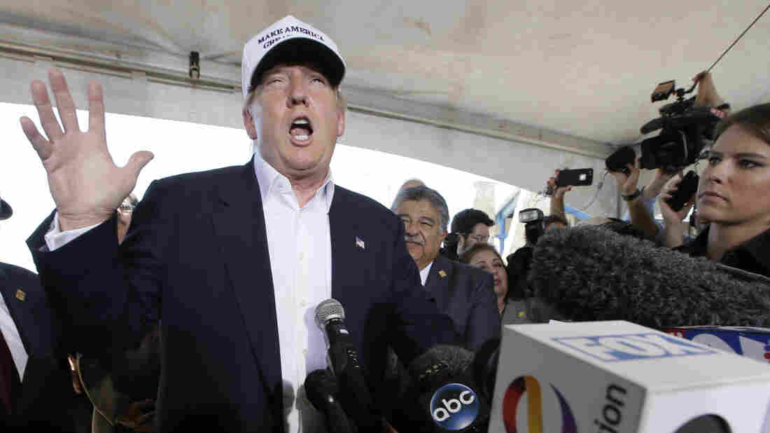 Donald Trump speaks to the media at the U.S.-Mexico border in July. The Libre Initiative's letter doesn't call out any candidates by name, but Trump has called for mass deportation and an end to birthright citizenship for immigrants.