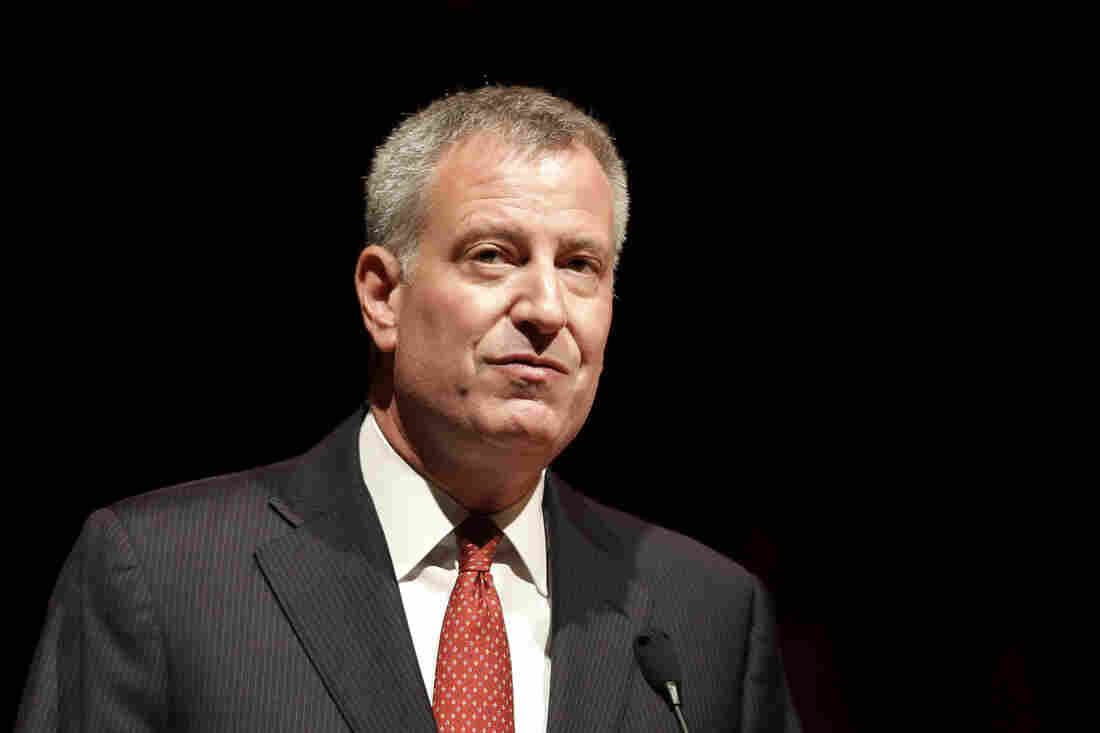 New York City Mayor Bill de Blasio speaks to the graduates of the Boys and Girls High School in the Bedford-Stuyvesant section of Brooklyn in New York.