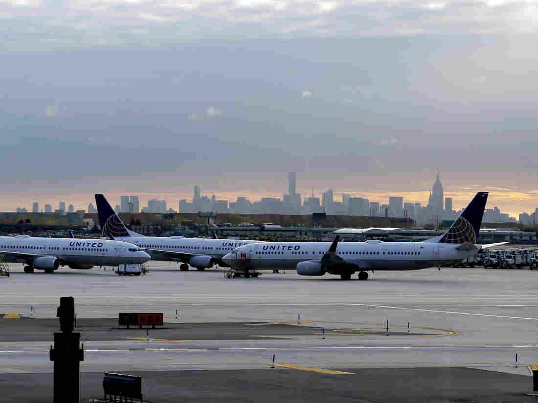 United Airlines jets are parked at Newark Liberty International Airport in Newark, N.J.