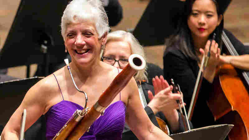New York Philharmonic principal bassoonist Judith LeClair acknowledges applause at a concert at Avery Fisher Hall in New York.