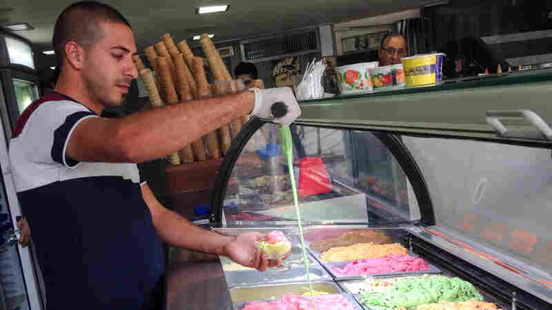 At Rukab's Ice Cream Parlor in downtown Ramallah, servers can stretch some flavors over a foot.