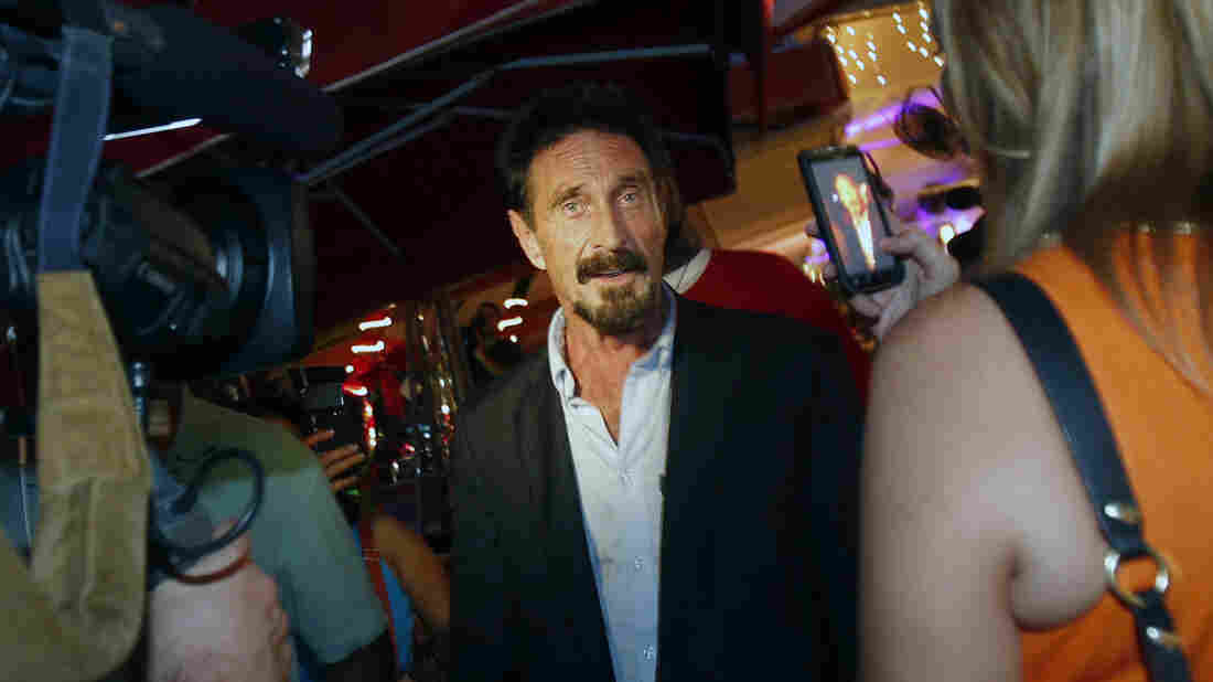 Anti-virus software founder John McAfee in Florida in 2012 after being deported from Guatemala, where he had sought refuge to evade police questioning.