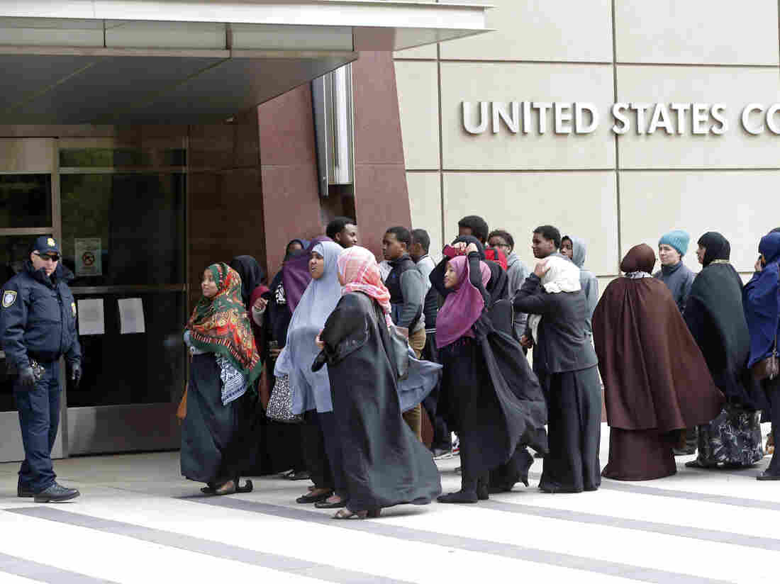 Members of the Minneapolis Somali community waited in May to enter the U.S. Courthouse where a federal judge ordered four Minnesota men, accused of trying to travel to Syria to join ISIS, to be held pending trial.