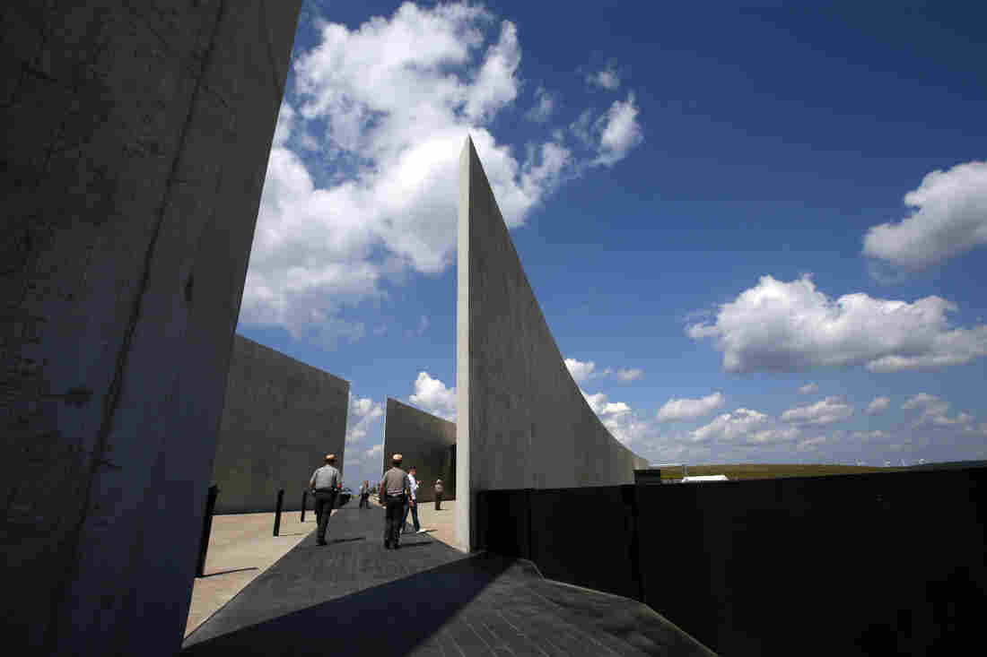 The dark stone path that bisects the Flight 93 National Memorial visitors center in Shanksville, Pa., memorializes the flight path of the United Airlines plane.