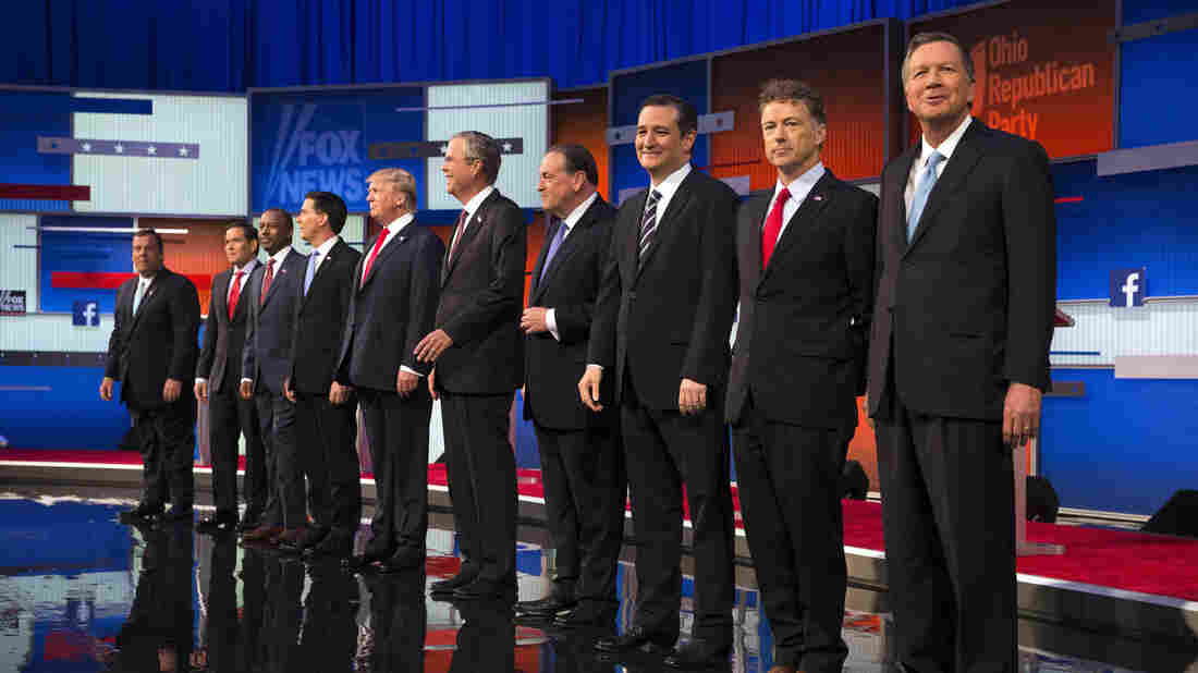 Republican presidential candidates take the stage for the first Republican presidential debate last month. On Wednesday, former Hewlett-Packard CEO Carly Fiorina will join them.